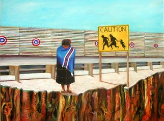 Eduardo Diaz: 'Frontera', 2002 Oil Painting, Political.