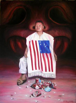 Eduardo Diaz: 'Jhon Diego', 2002 Oil Painting, Political.