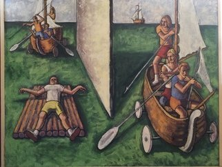 Michael Fornadley: 'Boat People 2', 2020 Oil Painting, Figurative. Oils and Casein on wood, Style- expressionism, figurative images- people- boats, that convey societal themes within a seascape...
