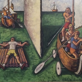 Michael Fornadley: 'Boat People 2', 2020 Oil Painting, Figurative. Artist Description: Oils and Casein on wood, Style- expressionism, figurative images- people- boats, that convey societal themes within a seascape...