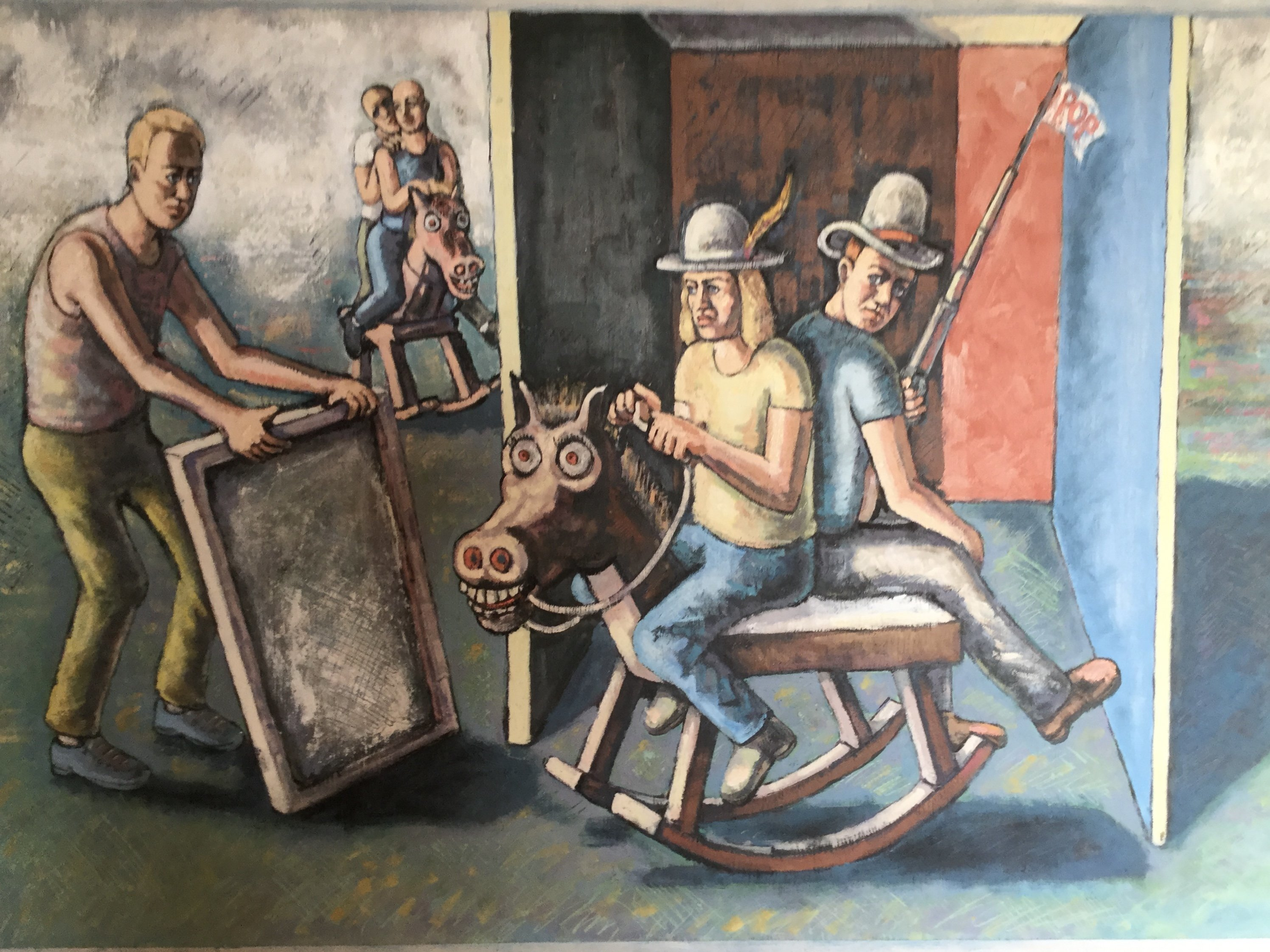 Michael Fornadley: 'Cowboys on crazy horse', 2019 Oil Painting, Political. Literary illusions, 2 cowboys on crazy horse with rocker base, man holding a canvas or mirror, Fog coming in behind 2 distant riders.Compositional walls, leading the eye and confining the center figures. ...
