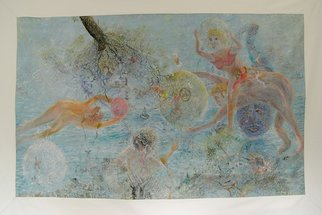 Micha Nussinov: 'Bubbling Sensation', 1997 Acrylic Painting, Surrealism.  A game with figures playing with a transparent ballons surrounded by a sea scape environment   ...