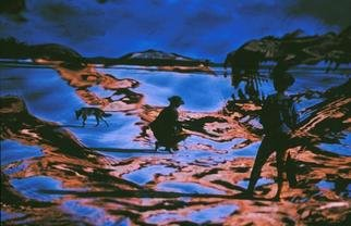 Micha Nussinov: 'Frazer Island Dreaming', 1990 Color Photograph, Other. A real encounter with Dingo in Frazer Island has transformed itself to dreamtime setting.  ...