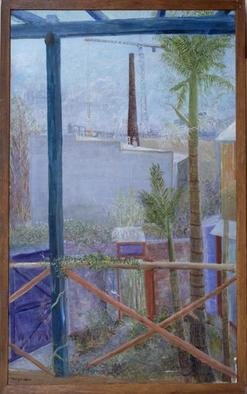 Micha Nussinov: 'View from Begg Lane', 1989 Acrylic Painting, Landscape. The view from our veranda. ...