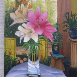 Michael Navascues: 'Plant Room with Lilies', 2013 Oil Painting, Interior. Artist Description:   Interior with various plants, stain glass, and bouquet of Asian lillies ...