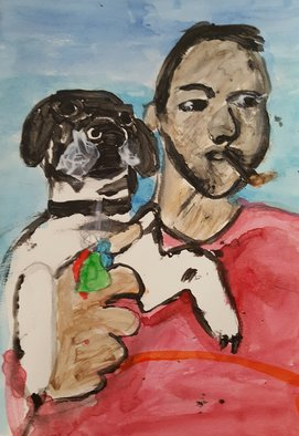 Michael Le Mmon: 'corey and bodger', 2017 Watercolor, Dogs. Artist Description: michael420le420mmon...