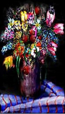 Michael Le Mmon Artwork flowers on black, 2017 Watercolor, Floral