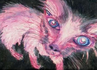 Michael Le Mmon Artwork skimmer the pink cat, 2017 Watercolor, Cats