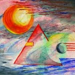 watercolor abstact pyramid By Michael Le Mmon