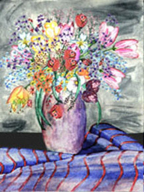 Michael Le Mmon Artwork watercolor flowers enhanced, 2017 Watercolor, Floral