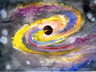 Michael Le Mmon: 'watercolor galaxy center', 2017 Watercolor, Astronomy. Artist Description: michael420le420mmon fine art watercolor for sale...