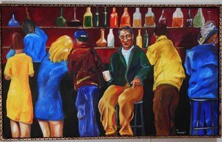 Michael Ashcraft: 'Lastcall', 2014 Oil Painting, Representational.   crowd at bar  ...