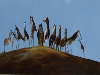 Michael Iskra: 'looking outward', 2015 Oil Painting, Horses. Artist Description: Horses  standing on a hill. ...