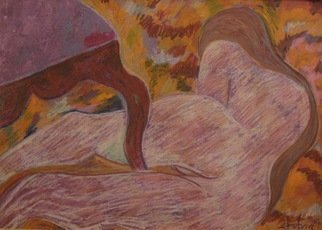 Michael Iskra: 'nude with chair', 2018 Oil Painting, Nudes. Artist Description: Nude lying by chair. . . . oil painting and pastel. ...