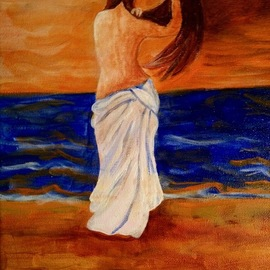 Michael Iskra: 'woman by the sea', 2018 Oil Painting, nudes. Artist Description: Woman looking at the sea combing her hair. ...