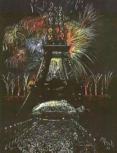 Michael Rusch  'Celebration In Fireworks', created in 1987, Original Printmaking Giclee.