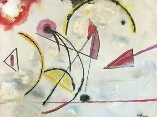 Michael Schaffer: 'New Morning', 2020 Mixed Media, Abstract. Lively shapes and color tell this story about greeting the day. ...