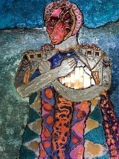 Michael Schaffer: 'Warrior', 2018 Mixed Media, Abstract Figurative. Artist Description: Third work in a portrait series. The warrior is victorious but pays the price. Mixed media components include copper plating, various metals, Pebeo, and acrylic metallic inks. ...