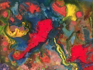 Michael Schaffer: 'red horse', 2016 Acrylic Painting, Abstract. Artist Description: Bold reds in a playful painting. ...