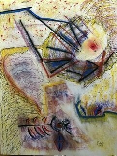 Michael Schaffer: 'up the road', 2019 Mixed Media, Abstract. Whimsical piece using pastels and pen and ink.Work is done on mixed media paper. ...