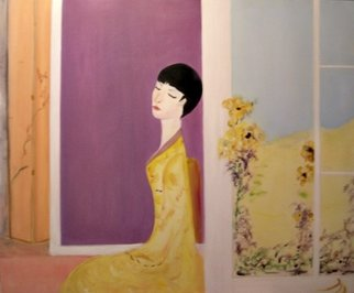 Michela Curtis: 'Femme en Jaune', 2005 Oil Painting, Meditation.  The yellow blooms lean toward her as her perfume fills the air.   Michela ...