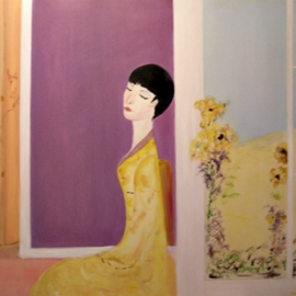 Michela Curtis: 'Femme en Jaune', 2005 Oil Painting, Meditation. Artist Description:  The yellow blooms lean toward her as her perfume fills the air.   Michela ...