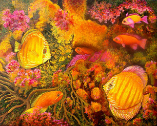 Animals Acrylic Painting by Micheline Hadjis Title: Flirtatious Discus, created in 2009