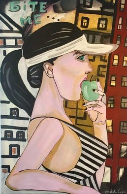 Michela Lago: 'bite', 2018 Other Painting, Atmosphere. Artist Description: Painting acrylic on canvas woman eating apple ...