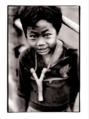 Michael Prochnik: 'A kid and his Sling', 1995 Black and White Photograph, People. Artist Description:  Northern Thailand, a village kid and his sling.         ...