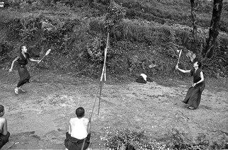 Michael Prochnik Artwork Badminton in the Himalaya 2, 1995 Black and White Photograph, People