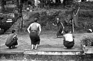 Michael Prochnik: 'Badminton in the Himalaya 3', 1995 Black and White Photograph, People. Artist Description:     Tibetan monks play badminton in the monastery.       ...