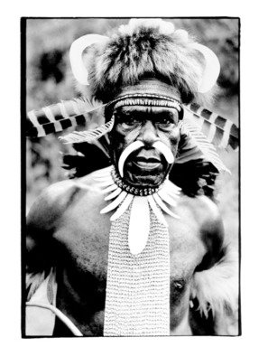 Michael Prochnik: 'Chief', 2013 Black and White Photograph, People. Artist Description:  Portrait of an Irian Jaya, highland Dani tribe chief. 1992  ...