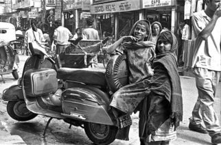 Michael Prochnik: 'Mumbai smile', 1995 Black and White Photograph, People. Artist Description:   Mumbai Street kids taking there time leaning on a scooter    ...