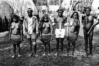 Michael Prochnik: 'Tribal Pose', 1995 Black and White Photograph, People. Artist Description:  Irian Jaya, Dani tribe villagers pose for a photo        ...