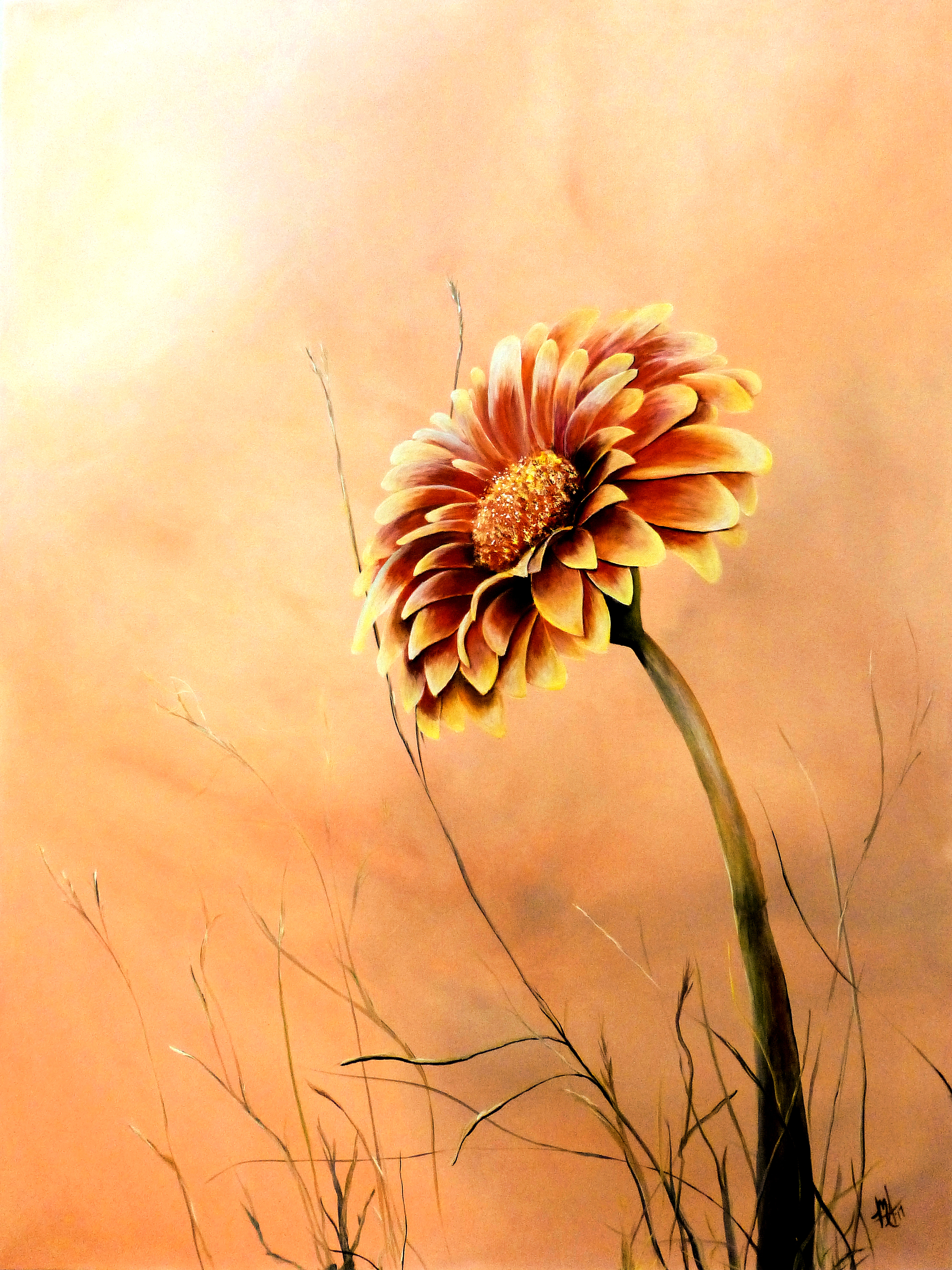 Michelle iglesias artwork red and yellow gerbera daisy original close x izmirmasajfo