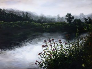 Michelle Iglesias: 'westfield river ma', 2017 Acrylic Painting, Landscape. Artist Description: Westfield River, MA was inspired by a photo my dadJohn Iglesiastook many years ago during an early morning fishing outing. He was captivated by the sun trying to pierce it s way through the morning mist.Westfield River, MA, large, original, acrylic, mist, fog, morning, day break, water, ...