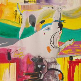 Michael Puya: 'Voodoo Satan Gnu und Muh', 2009 Acrylic Painting, Abstract Figurative.