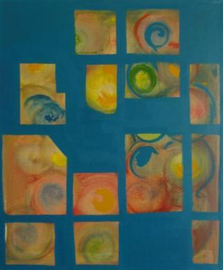Artist: Michael Puya - Title: concentric circles behind blue - Medium: Acrylic Painting - Year: 2012