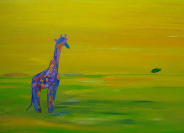 Michael Puya  'Giraffe In Blau', created in 2011, Original Painting Tempera.