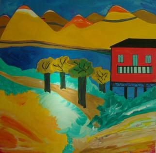 Artist: Michael Puya - Title: rotes haus am blauen see - Medium: Acrylic Painting - Year: 2011