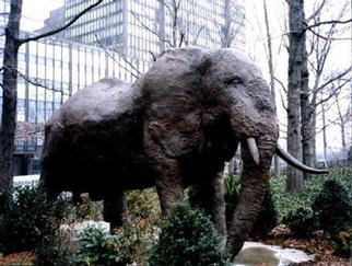 Bronze Sculpture by Mihail Simeonov titled: CAST THE SLEEPING ELEPHANT, created in 1998