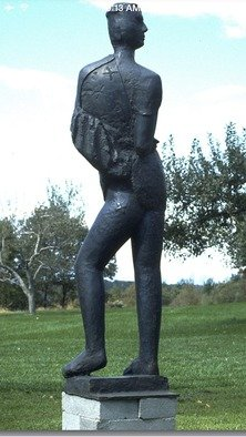 Mihail Simeonov: 'Young woman exposed to wind', 1989 Bronze Sculpture, Figurative. Artist Description:   dark broun patina      ...