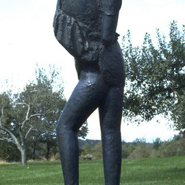 Mihail Simeonov Artwork Young woman exposed to wind, 1989 Bronze Sculpture, Figurative