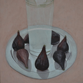 Mihai Stancescu: 'Figs and water', 2009 Tempera Painting, Still Life. Artist Description:  oil egg tempera on wood panel ...