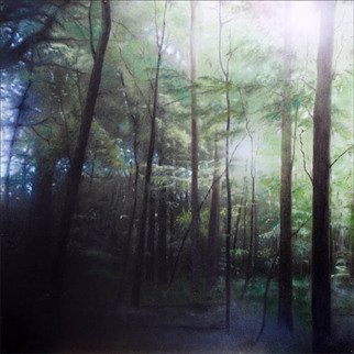 Mikael Hansen: 'beech wood spring', 2013 Oil Painting, Landscape. Oilpainting on hardboard...