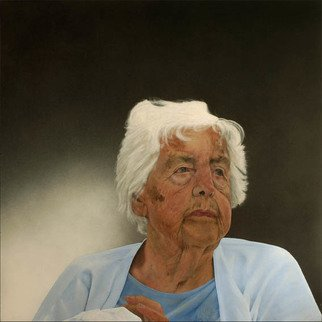 Mikael Hansen: 'woman with white hair', 2011 Oil Painting, Portrait. From the series  Family portraits ...