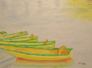 Mike Carr: 'Rowboats', 2007 Oil Painting, Landscape.