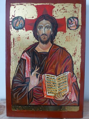 Milena Pramatarova: 'Jesus Christ', 2015 Gouache Drawing, Religious. Artist Description:  Jesus Christ, icon, 43 x 28. 5 cm. materials: wood, tempera ...