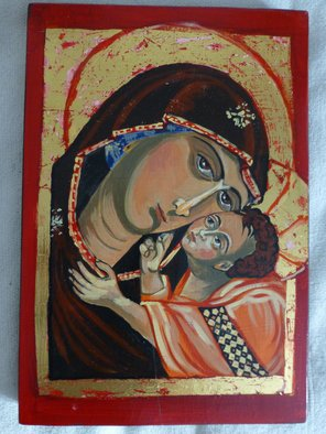Milena Pramatarova: 'Mother Mary with Christ', 2015 Gouache Drawing, Religious. Artist Description:  Mother Mary with Christ, icon, 38 x 25. 5 cm. materials: wood, tempera ...