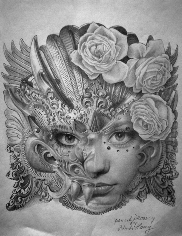 Minh hang artwork mask original drawing pencil mask art